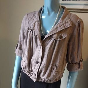 Anthro Cropped Linen Jacket